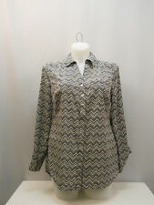 PLUS SIZE 0X Womens Button Down Shirt STYLE&CO Chevron Collared Neck Long Sleeve