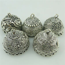 5X Mix Vintage Round Flower Leaves  Beads Cap Tassels End Filigree Pendant Charm