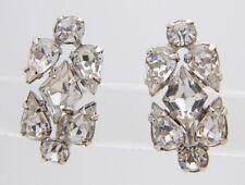 VTG DeLizza & Elster JULIANA Silver Tone Clear Glass Rhinestone Screw Earrings