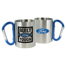 FORD BUILT TOUGH STAINLESS STEEL COFFEE MUG Cup Carabiner Handle Fathers Day