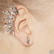 Hot Punk New Crystal Flower Shape Left Ear Cuff Clip Golden Stud Hook Earrings