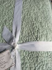 POTTERY BARN BELGIAN FLAX LINEN FLORAL STITCH QUILT  BLUE KING / CAL Porcelain