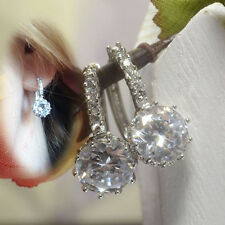 Elegant Silver Plated Clear WHITE CLEAR Crystal Hoop Earrings Jewelry UK