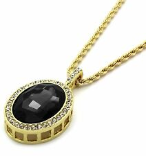 """Mens 14k Gold Plated Iced Out Black Ruby Oval Pendant Hip-Hop 24"""" Rope Chain"""