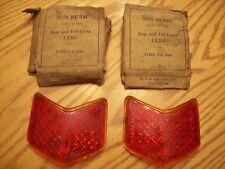 NOS 1940 Ford Sun Beam Real Glass Tail Light Lens, Ruby Glass, V8