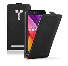 SLIM BLACK Leather Flip Case Cover Pouch For Mobile Phone Asus Zenfone Selfie