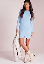MISSGUIDED Long Sleeve Wrap Hem Bodycon Dress in Powder Blue UK 12 (camg13)