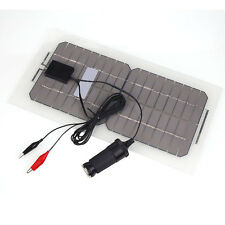 18V 5.5W Portable Solar Panel Car Battery Charger with Alligator Clip USB Cable