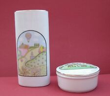Vintage porcelain white Vase and trinket box with lid, made in Japan