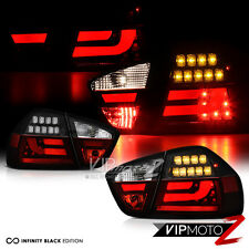 06-08 E90 3-Series BMW 4DR LED STRIP Tail Lights *Black* Signal Rear Brake Pair