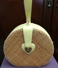 Juicy Couture Straw & Leather Hat Box Purse Bag Handbag Yellow SALE