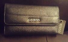 Guess Authentic Tri-Fold Clutch Alessanda Saffiano Black Wallet NWT