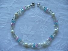 """100 % Authentic fresh water pearls with Glass Crystal beads  9"""" Ankle Bracelet"""