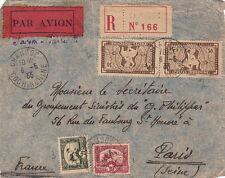 Lettre/Cover Front Chaudoc pour la France Recommandé 1933