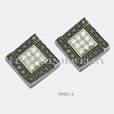 Sterling Silver 925 Square Stud Screwback Earrings with B&W CZ (7.5mm) #0023A