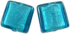 10 x Silver Foil Glass Square Beads ~ Teal  ~ 12mm