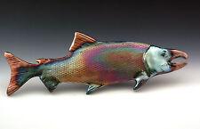 Large Raku Salmon Wall Art Fish ing Alaska Pacific Northwest Ceramic Coho Silver