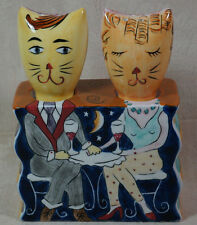 Vintage Clay Art Cat Salt And Pepper Shaker Set
