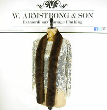 VINTAGE Brown REAL MINK FUR Scarf Wrap Glam DIVA 60s 70s Bohemian Party Stole