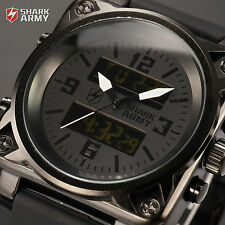 Shark Army Fashion Men's LCD Digital Quartz Chronograph Date Rubber Sport Watch