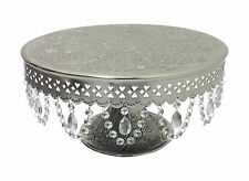"GiftBay Wedding Cake Stand Round Pedestal Silver 16"" With Hanging Glass Crystals"