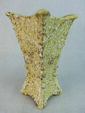 """Yellow Gold speckled tall square vase Shawnee? pottery 7 1/2"""" t 4"""" square"""
