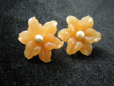 Women 1Pair of Light Red Flower Pearl Stud Earrings Ornament Decoration Jewelry
