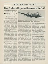1952 Aviation Article Boeing C-97 Cargo Transport Planes for Commercial Use