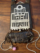 Niger Tuareg  leather bag  with tassles and pendant amulet with tie