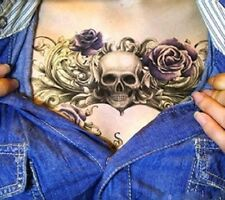 Temporary Tattoo Fake Tattoo Scull&Roses 16x11cm Medium Einmal Tattoo  F-076