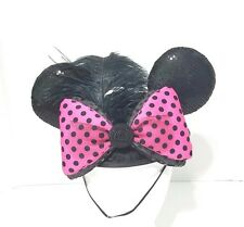 DISNEY PARKS MINNIE MOUSE EARS BLACK SEQUIN CAP PINK POLKA DOT BOW W/ FEATHER