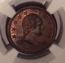 1863 Washington-New York Civil War Token NGC MS63 BN F-110/442 a  : Some Reds