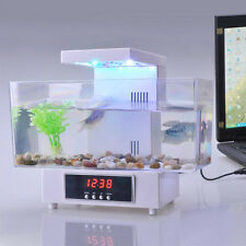 Mini Fish Tank USB Desktop LED Colorful Light LCD Alarm Aquarium Home Office New