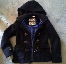 New look black lined wool jacket coat girls 9-10 hooded hood
