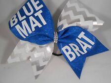 Cheer Bow Blue Mat Brat Blue White Silver by BlingItOnCheerBows