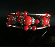 3 rows Lucky Tibet silver Synthetic Red Coral handmade bracelet 7.5""