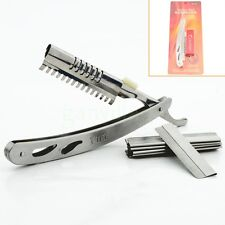 Straight Edge Stainless Steel Barber Razor Folding Shaving Shave Knife 10X Blade