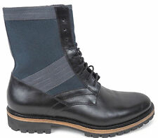 Dries Van Noten Men's Navy Gray Black Leather Lace Up Combat Boots 42 8.5 $975