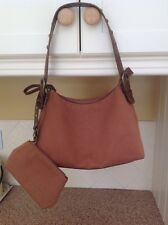NINE WEST TAN SHOULDER BAG WITH MATCHING WRISTLET/PURSE BARELY USED GREAT COND