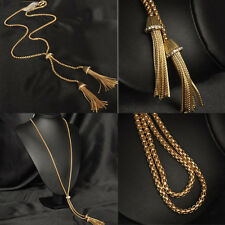 Vintage Gold Plated Alloy Tassel Pendant Rhinestone Long Chain Sweater Necklace