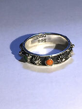 Sterling Silver -Vintage  MEXICO 5mm Onyx Coral Band 2.7g - Ring (7.5)