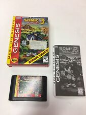 Sonic the Hedgehog 3 THREE (Sega Genesis, 1994) COMPLETE GAME SYSTEM NES HQ