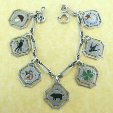 Antique German Silver Charm Bracelet 7 Lucky Enamel Charms Angel Clover Pig +