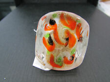 A BIG CHUNKY WHITE,ORANGE,GREEN & BLACK MURANO/DICHROIC STYLE GLASS RING.(40).