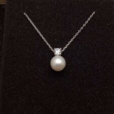 Genuine Cultured Freshwater Pearl Necklace S925 Real Perfect Round Pearl 7-8mm