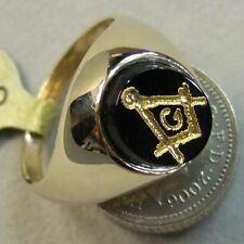 9 ct GOLD new onyx masonic ring Ref A