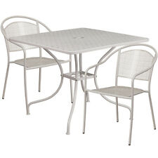 35.25'' Square Light Gray Indoor-Outdoor Patio Restaurant Table Set w/2 Chairs