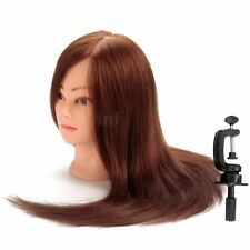 22'' 100% Real Human Hair Hairdressing Training Head Mannequin Doll & Free Clamp