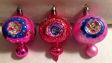 """Set of 3 Vintage Mercury Glass Triple Indent Christmas Ornaments Pink and Red 3"""""""