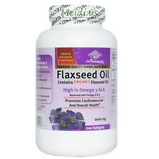 Organic (Linseed) Flaxseed ( Flax Seed ) Oil, Omega 3, 1000mg 200 Counts,